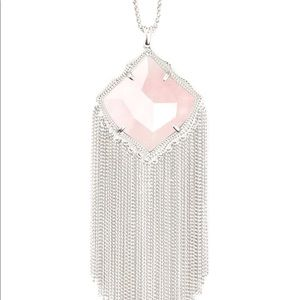 Kendra Scott Kingston Necklace Silver, Rose Quartz